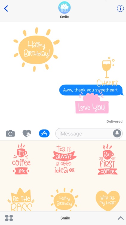 Smile - Sweet Everyday Saying Stickers screenshot-4