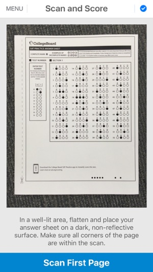 sat practice answer sheet