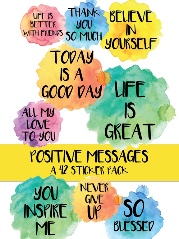 Positive Messages Watercolor Sticker Pack | App Price Drops