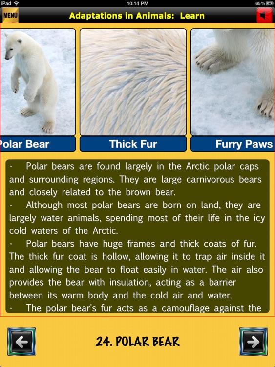 easyLearn Adaptations in Animals | Life Science HD screenshot-4