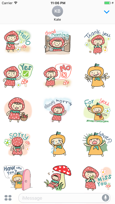 Myrtle The Girl Loves Strawberry English Stickers