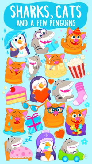 ‎Nice Shark! Good Kitty Cat and Penguin Too! Emoji Screenshot