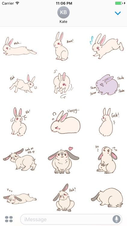 Couple Bunny English Sticker