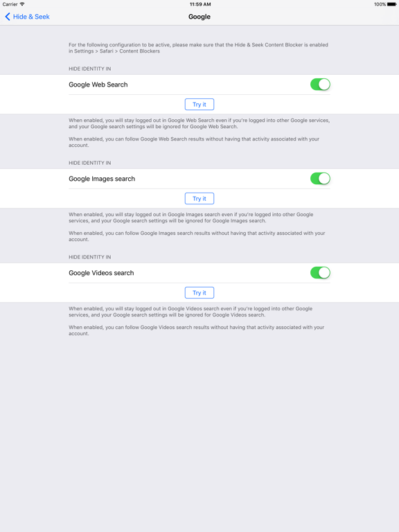 Hide & Seek: Better privacy for your web searches   App Price Drops