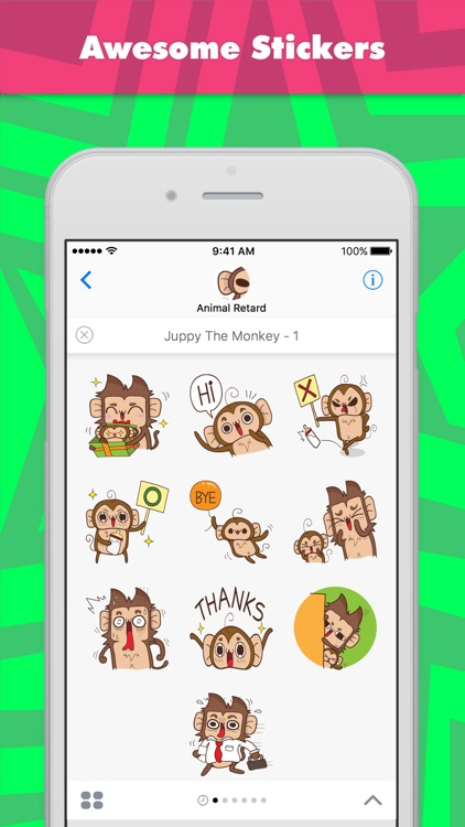 Juppy The Monkey - 1 stickers by Animal Retard