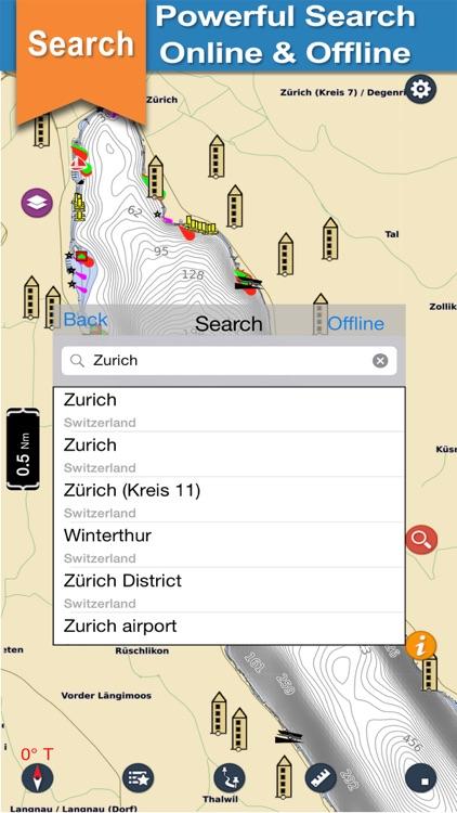 Zurich Lake GPS offline nautical chart for fishing screenshot-3
