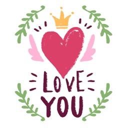 Happy Valentine's Day Hand Drawn Stickers