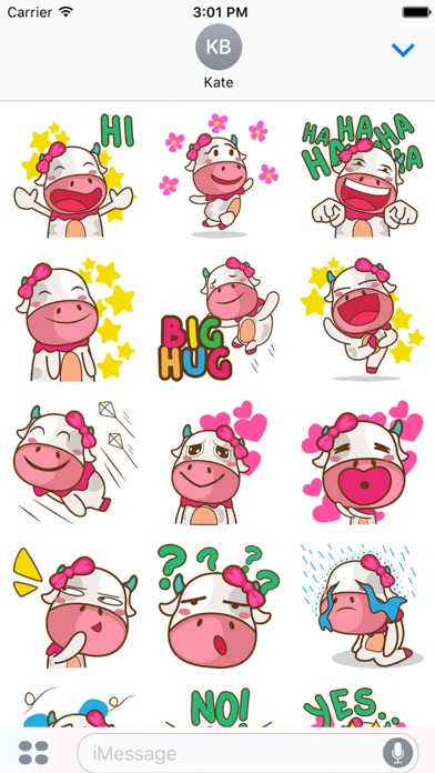 Mira the sweet cow for iMessage Sticker
