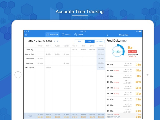 hours keeper time tracking timesheet billing on the app store