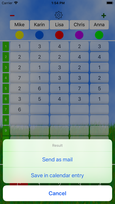 Mini Golf Score Card Screenshot