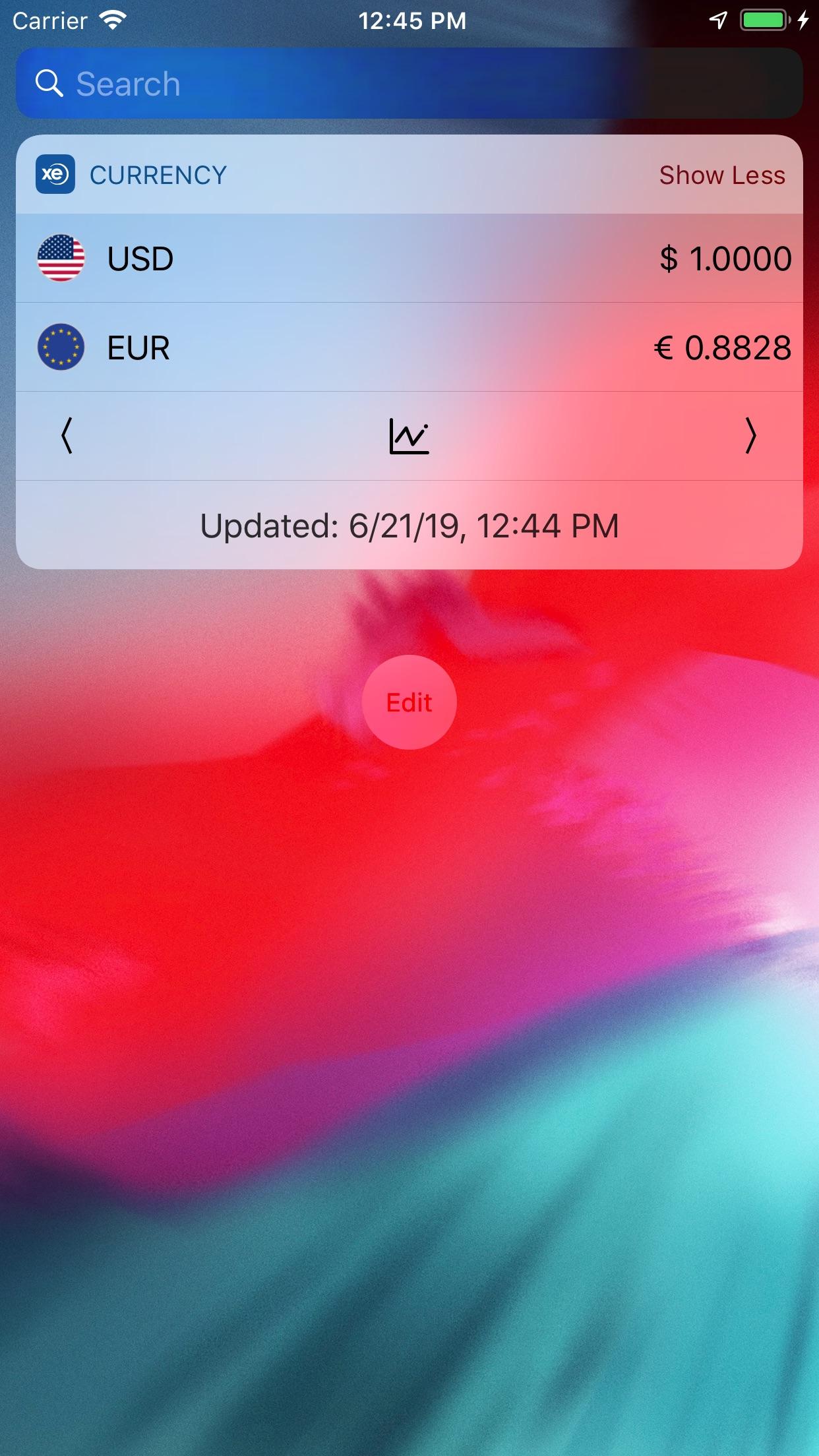 Screenshot do app Conversor de moedas XE