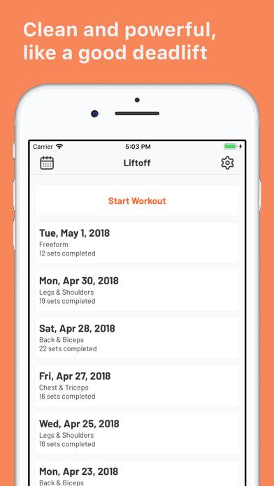 Liftoff - Workout Log Screenshots