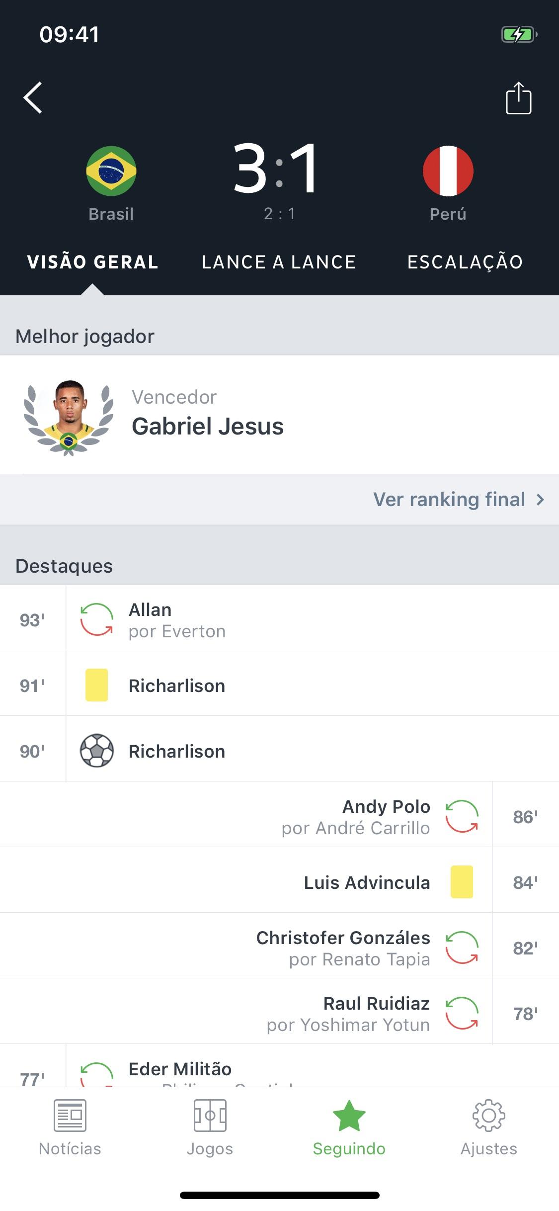 Screenshot do app Onefootball - Notícias Futebol