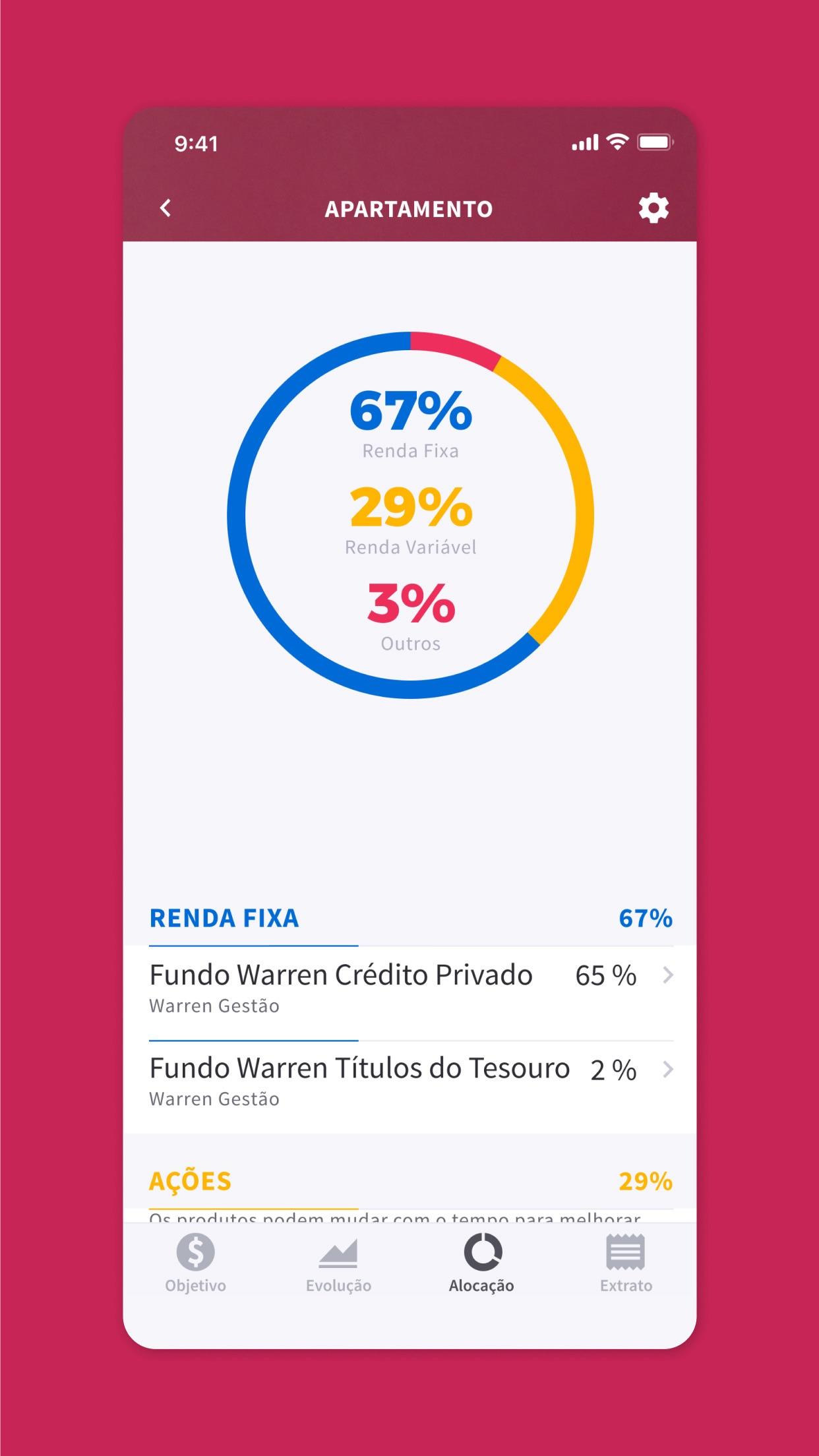 Screenshot do app Warren Brasil