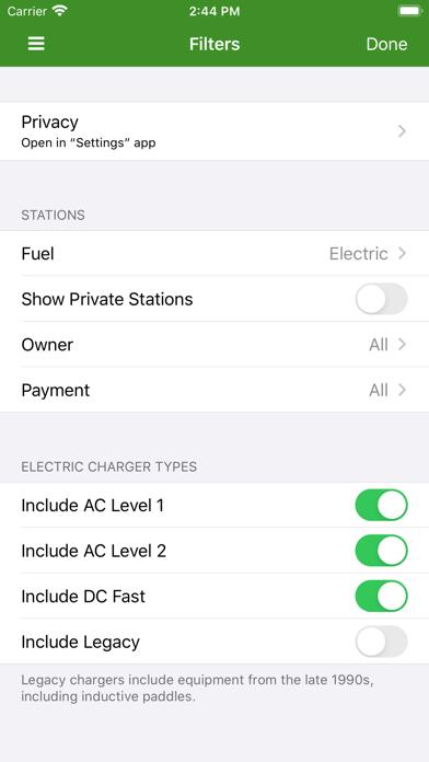 Alternative Fueling Station Locator screenshot