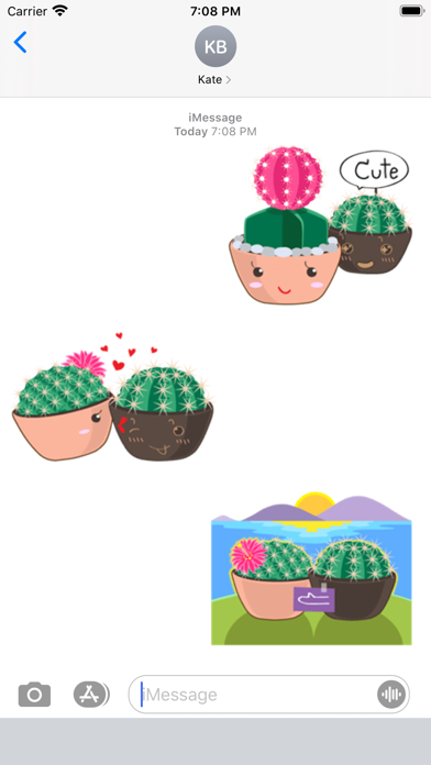 Cute Cactus Couple Emoji screenshot 1