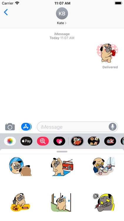 Pug love Dog Stickers Pack