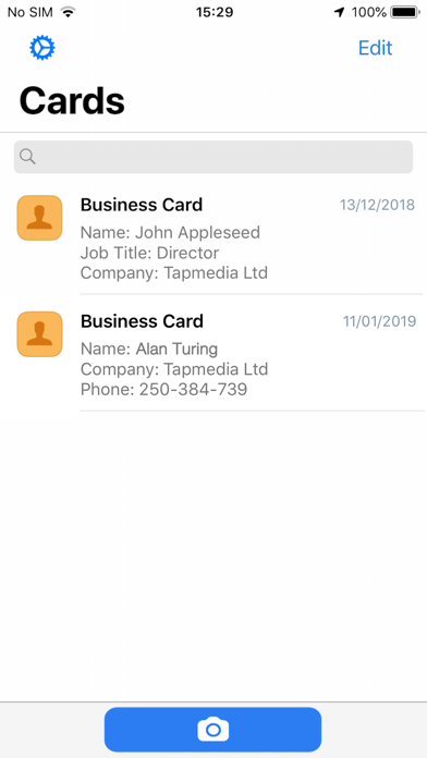 Business Card Scanner & Reader Screenshot