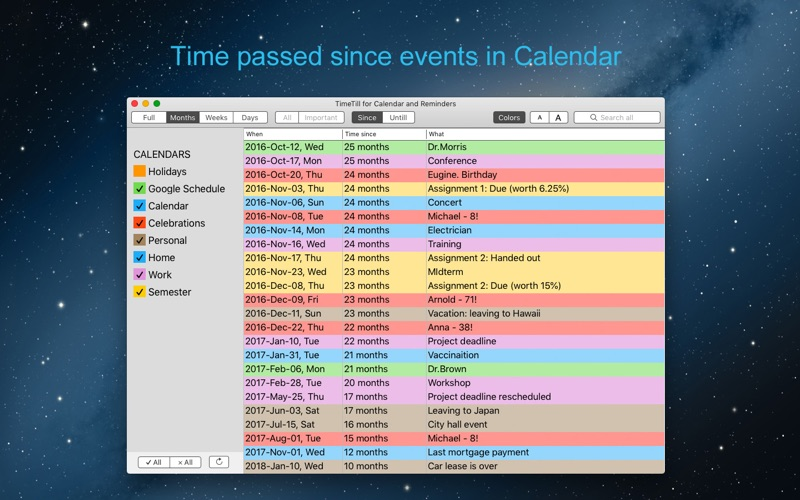 TimeTill for Calendar for Mac
