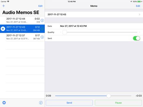 Screenshot of Audio Memos SE