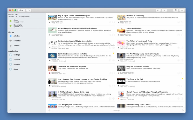 Articles + for Mac