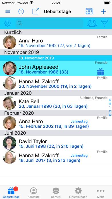 BirthdaysPro XScreenshot von 1
