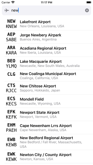 Airport Codes Screenshot