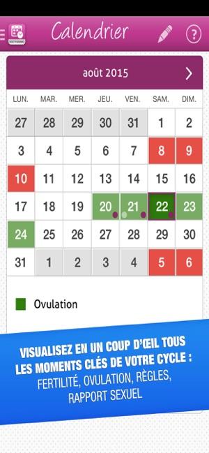 Calendrier Ovulation Et Regle.Mon Ovulation Dans L App Store
