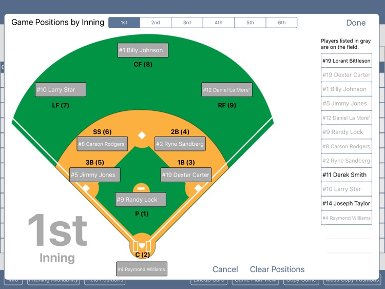 Baseball/Softball Game Planner
