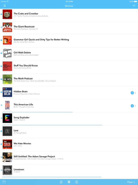 SkipCast: Podcast Player Screenshots