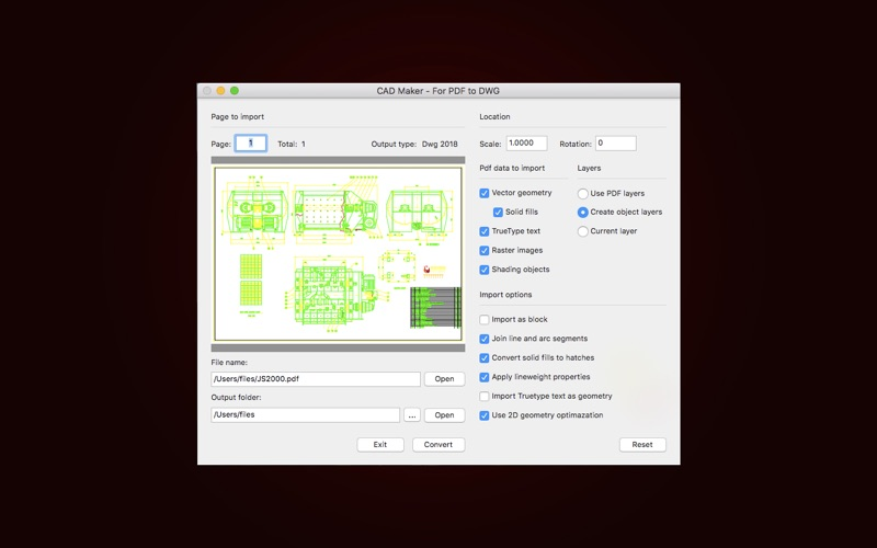 CAD Import - For PDF to DWG for Mac