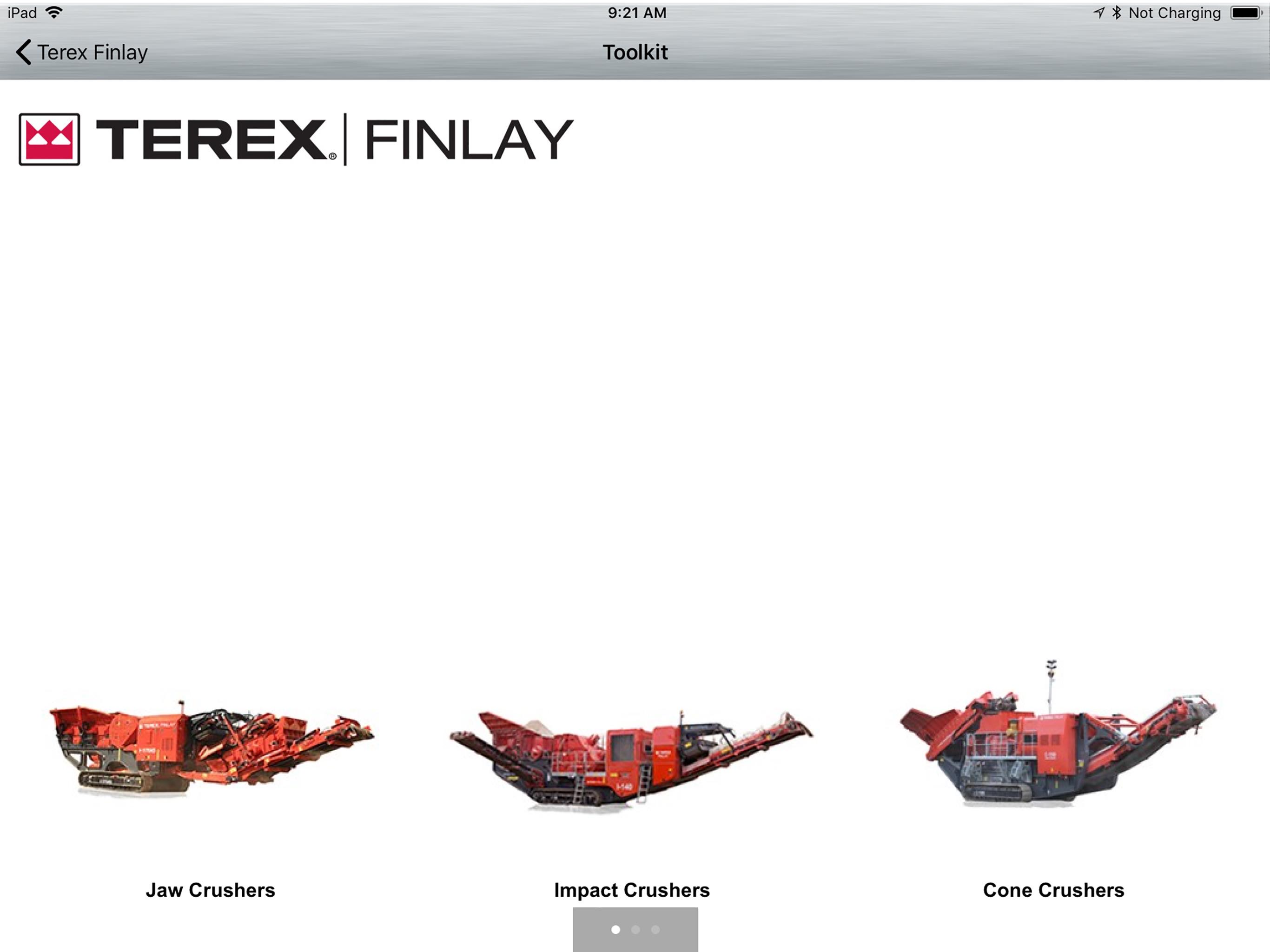 Terex Finlay Dealer Tool Screenshot