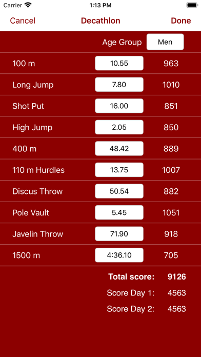 Score Calc - Calculator and Scoring Tables for Athletics Combined Events screenshot