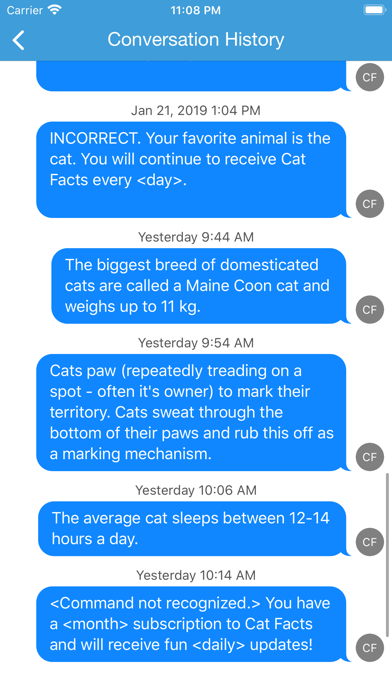 Cat Facts Texts screenshot three