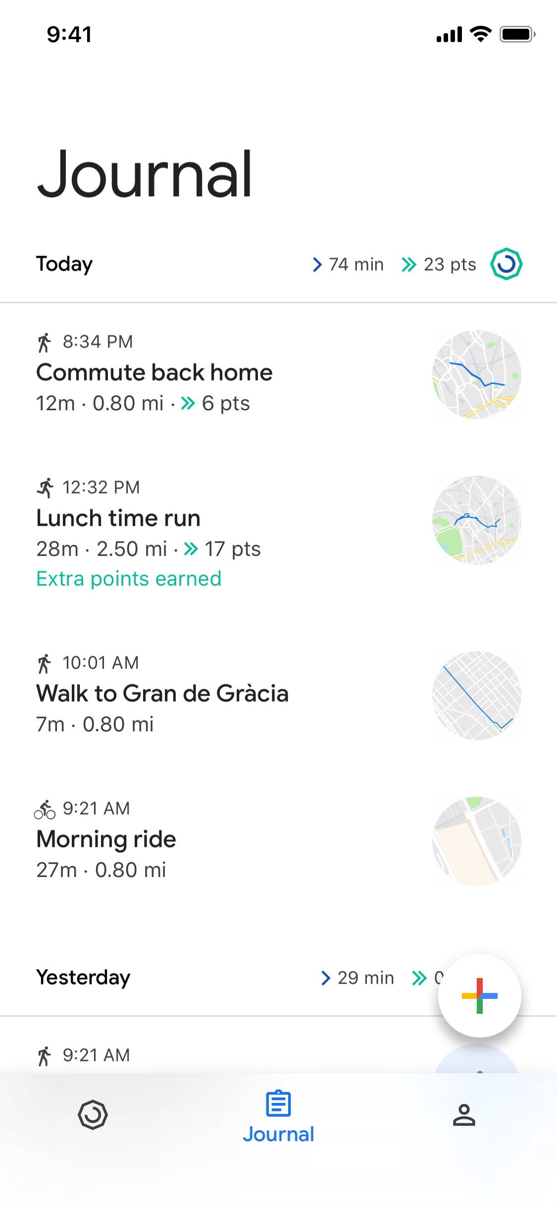 Screenshot do app Google Fit: monitor fitness