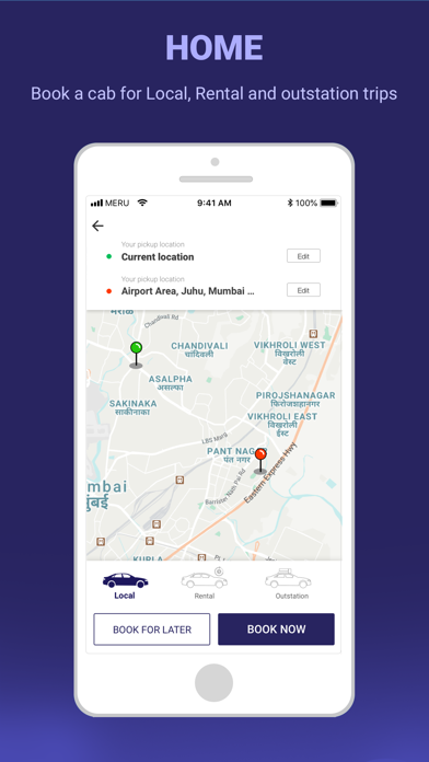 Meru Cabs-Local and Outstation screenshot one