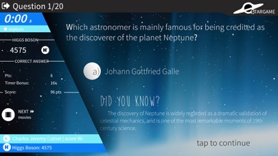 Stargame quiz screenshot three