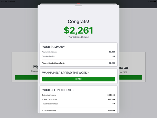 TaxSlayer - Free Tax Refund Calculator screenshot