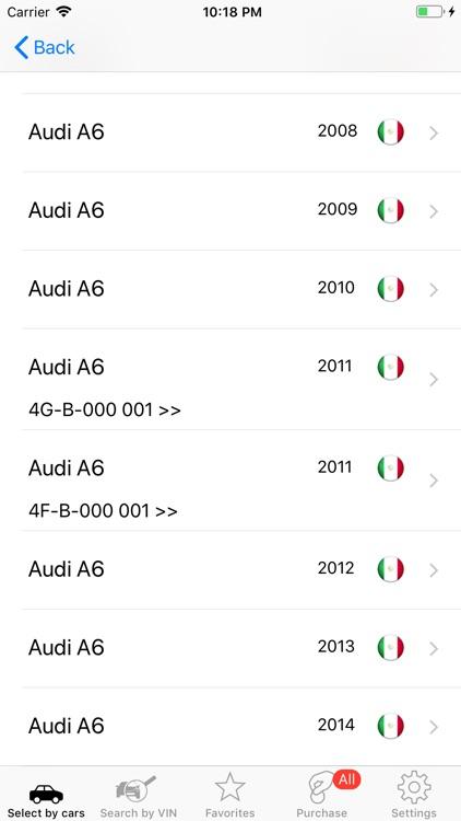 Parts and diagrams for Audi screenshot-3