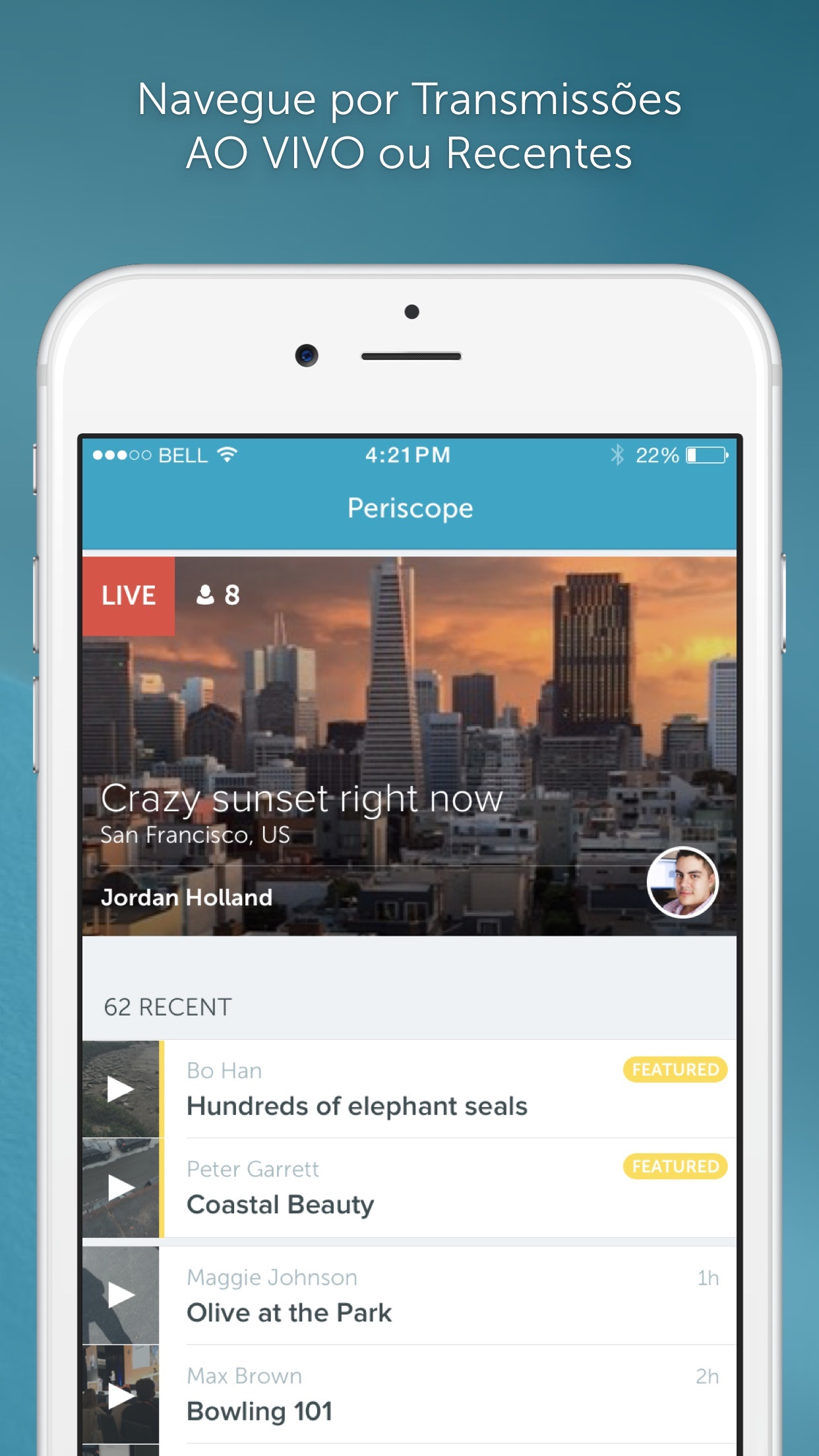 Screenshot do app Periscope