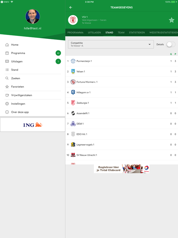 Voetbal.nl iPad app afbeelding 4