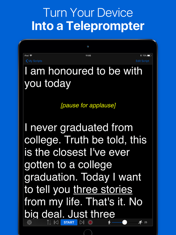 Teleprompter Lite - Speech, Script and Lyrics Mirror Prompter Pro screenshot