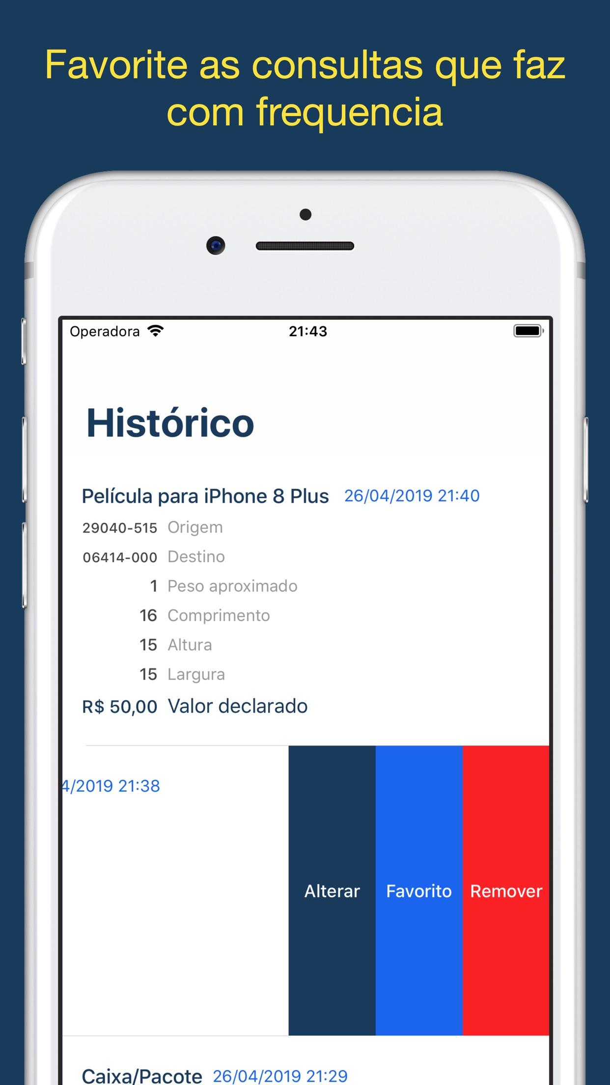 Screenshot do app Calcula Frete dos Correios