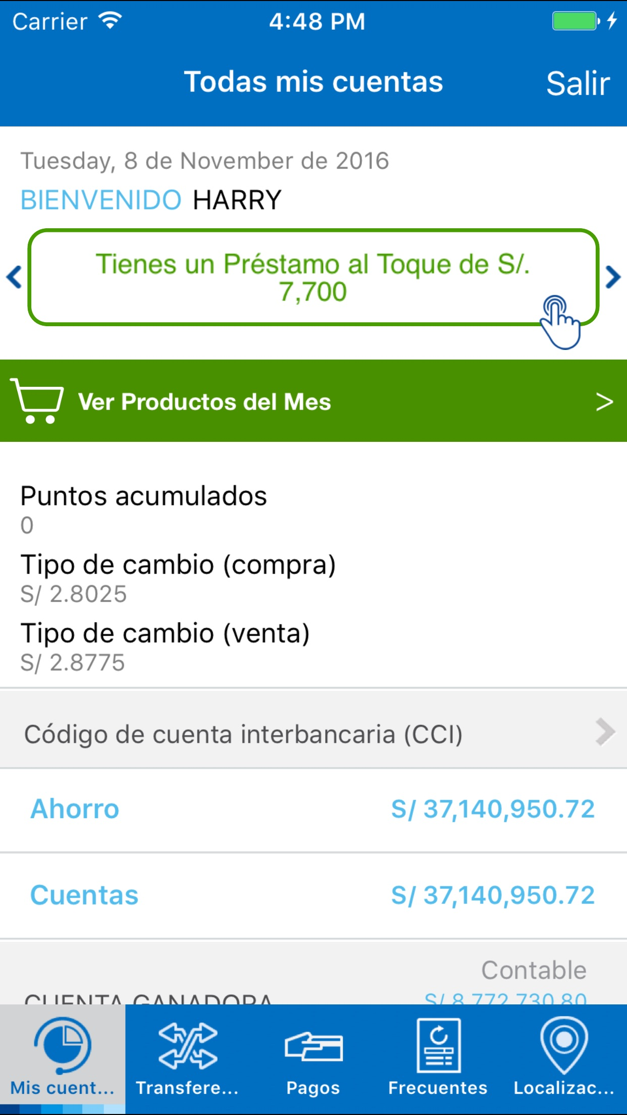 BBVA Perú Screenshot