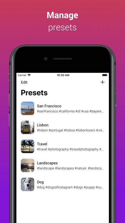 InstaTag - #hashtag Manager