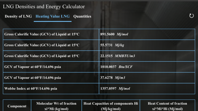 Screenshot #3 pour LNG Densities and Energy calc
