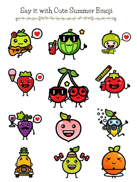 174 Cute Emoji - Summer Fruits screenshot 5