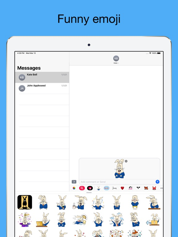 Office Rabbit emoji stickers screenshot 8