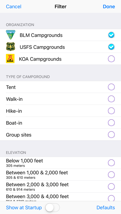 USFS & BLM Campgrounds Screenshot
