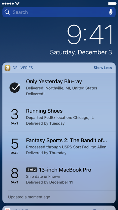 Deliveries: a package tracker screenshot two
